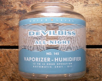 Vintage DeVilBiss Blue and White Glass Vaporizer Humidifier Jar - Retro First Aid Care
