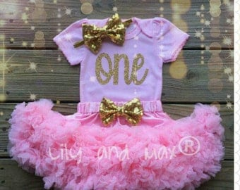 First Birthday Outfit, pink and gold sparkly top and pettiskirt Outfit, pink and gold ONE top with pink chiffon pettiskirt