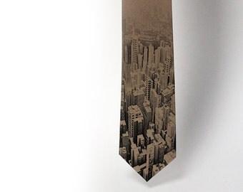 "City landscape mens necktie ""City Space"". Hipster necktie.Tie for trendy traveler with unique taste in unique city style."