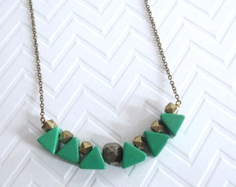 Kachiri - Green Triangle Long Brass Necklace made with Semi-Precious Howlite and Iron Pyrite Faceted Mineral (Collier Vert) by InfinEight