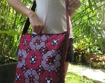 Hmong Vintage Style Unique Ethnic Thai Shoulder Sling Dangle Messenger Bag