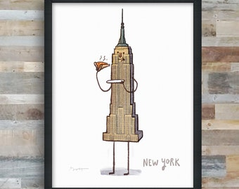 NYC- Empire State Pizza art print