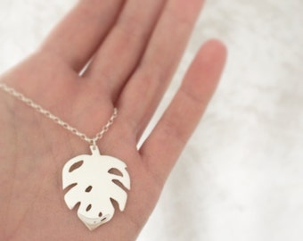 leaf pendant delicious monster necklace two sterling leaves long chain
