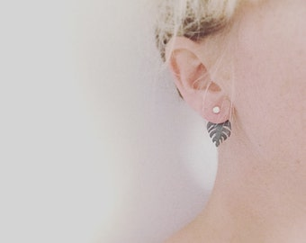 leaf earrings ear jacket leaf studs delicious monster necklace silver and black tropical jewelry