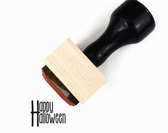 Mini Happy Halloween Stamp, Fall Holiday Halloween Stamp, Wood Mounted Rubber Stamp