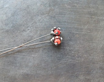 Dusty red coral & rhinestone soldered headpins pair
