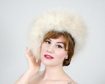 1960s vintage hat / fox fur hat / white fox fur beret