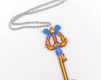 Keyblade Necklace - Three Wishes Keyblade Necklace Aladdin Keyblade Necklace Kingdom Hearts Jewelry Pixel Necklace Video Game Necklace