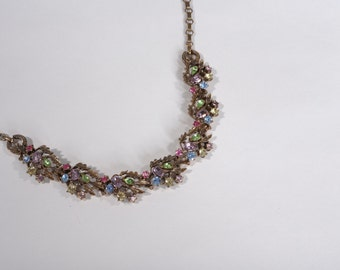 Vintage 1950s Lisner Wedding Necklace - Pastel Rhinestones - Bridal Fashions