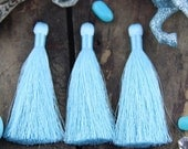 """Limpet Shell Pastel Blue Silky Jewelry Tassels, Pantone Spring Color, 2 Silky Handmade Long Tassels, Jewelry Making Supply, 3.5"""", 2 Pieces"""