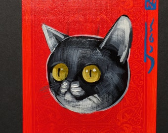 Cat Illustration portrait on a playing cards. Original acrylic painting. 2013