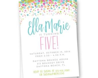 Polka Dot Birthday Invitation, Girls Birthday Invitation, Rainbow Birthday Invite, Colorful Birthday Invite