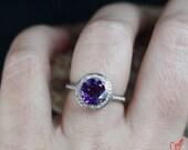 Custom Listing for Akaucher12-Amethyst & Diamond Halo Engagement Ring 1.5ct 7mm 14k Rose Gold 6.5-Wedding Ring Engagement-Anniversary