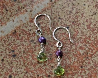 Tiny peridot and pearl drop earrings