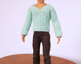 Male Doll Clothes, Blue Male Doll Sweater, Male Fashion Doll Sweater, Blue Doll Top, Hand Knit V-Neck Tee Shirt, Male Doll V-Neck Pullover