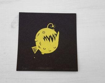 Man Eater // mini screen print // angler fish