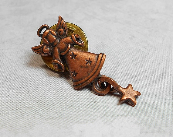 Vintage Angel Pin Brooch Copper Plated JJ Holiday Christmas Jewelry Christian