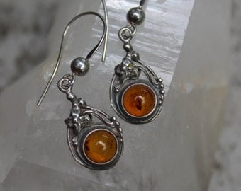 Baltic Amber Sterling Silver Earrings Vintage