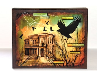 assemblage art, mixed media, crow, wood panel, photograph, clouds, home, house, wall hanging, original, assemblage, rustic, 14x11
