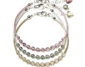Antique Pink Black Diamond Grey Light Silk Beige Bracelets, Simple Beaded Bracelet Silver Swarovski Crystal Set Heart Jewelry Neutral Dainty
