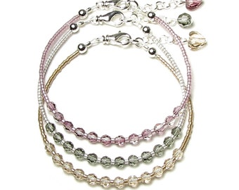 Antique Pink Black Diamond Grey Light Silk Beige Swarovski Crystal Silver Beaded Bracelet Set Soft Feminine Neutral Color Jewelry Women Teen