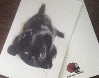Blank note card, card set, greeting card, Pug, Puppy, Black, Watercolor, Art, Print