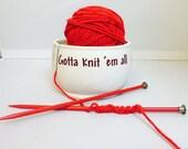"""Ceramic Yarn Bowl """"Gotta Knit em All"""" Pokemon go inspired handmade in my Charleston, SC studio"""