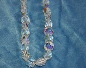 Vintage Iridescent Aurora Borealis Glass Beaded Necklace