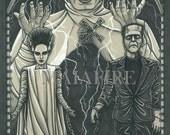 HORROR Tarot Bride of Frankenstein postcard PRINT