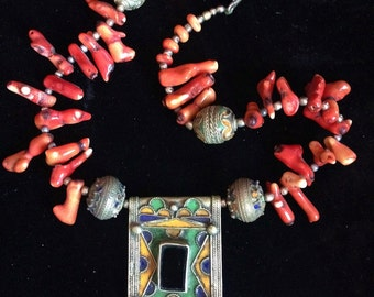 Berber Tribal Necklace with Old Enamel Prayerbox,  Eggbeads & Coral Beads from South Morocco