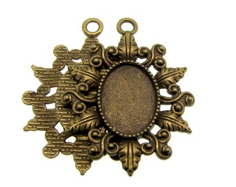 Pendant Settings | Bezels : 10 Antique Bronze Oval Cabochon Settings ... Holds 18x13mm Cabochons -- Lead, Nickel & Cadmium Free 003-42.H2H