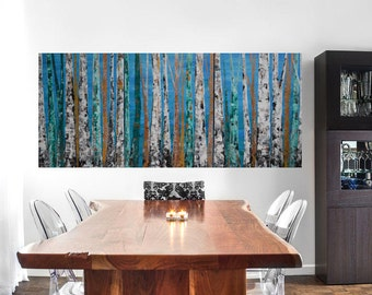 READY TO SHIP: 24x54 Multi Panel Modern Aspen Birch Tree Nature Forest Woodland Metallic Blue Emerald Teal Original Painting