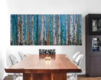 NEW DESIGN: 24x54 Multi Panel Modern Aspen Birch Tree Nature Forest Woodland Metallic Blue Emerald Teal Original Painting