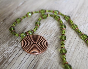 Spiral Copper Pendant and Olive Green Necklace and Earring Set / Gifts for Her / Copper Jewelry / Sparkly / Spiral Pendant / Gifts for Women