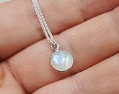 Moonstone Necklace - rainbow moonstone necklace - June birthstone - Moonstone pendant - Tiny pendant - tiny stone necklace - tiny jewelry