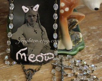 Embroidered Tintype Jewelry, Rosary Necklace, One of a Kind Wearable Art