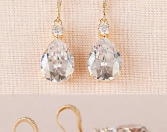 Gold Bridal Earrings, Crystal Bridal earrings, Pearl WeddingEarrings,  Wedding Jewelry,  Bridesmaids, Lilliana Bridal Earrings