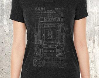 Women's Tri Blend T-Shirt - Grunge Blueprints of R2D2 Unit - Women's Small Through XL Available