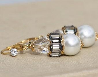 NEW Swarovski Black Diamond Pearl Rondelle Earrings,Large Vintage Rhinestone Drop,Gold Ivory Pearl Drop,Lever Back,Bridal Weddings,Long,OOAK
