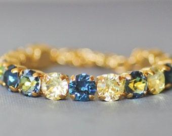 NEW Vintage Sahara Navy Blue Rhinestone Tennis Bracelet,Pale Yellow,Navy Sapphire Blue,Crystal Bracelet,Bridesmaids,Unique Color,8mm Stone
