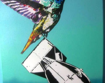 Calm like a Bomb - Original Hand Cut Stencil Painting of Hummingbird with Nuclear Bomb by Jessica Pope