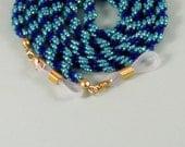 Ladies Bead-Woven Eyeglass Holder - 28 Inch Cobalt Blue & Teal Green Beaded Rope Sunglass Leash - Handmade Unique - Seed Bead Eyewear