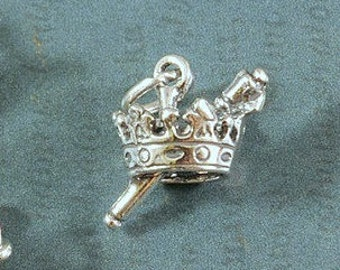 Sterling Silver Crown and Scepter Charm - 13x18mm - Sold Per Piece - CR3CS