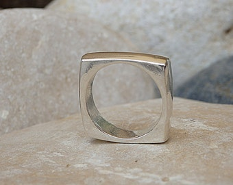 Square Band Ring. Sterling Silver Square Ring. Silver Geometric Ring. 925 Sterling Silver Ring. Silver Square Band Ring. Women's Band Ring