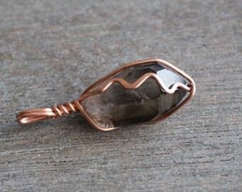 Smoky Quartz Wire Wrapped Pendant #5686
