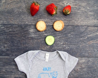 Hungry Like The Wolf Baby Onesie Bodysuit -Heather Grey With Bright Blue
