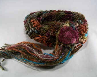 the handspun collection. whimsical art yarn scarf. one of a kind  ~ tropical island~