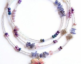 Waistbeads,  Hibiscus Caribbean Queen Tanzanite Waist Beads, Belly Beads, Belly Chain