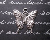 6 Butterfly Charms in Silver Tone - C2352