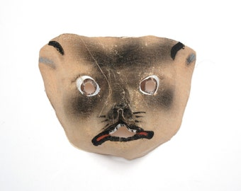 vintage mouse mask 30s 40s gauze waxed Halloween mask 1930 1940 rat rodent mask spooky creepy oddity antique mask